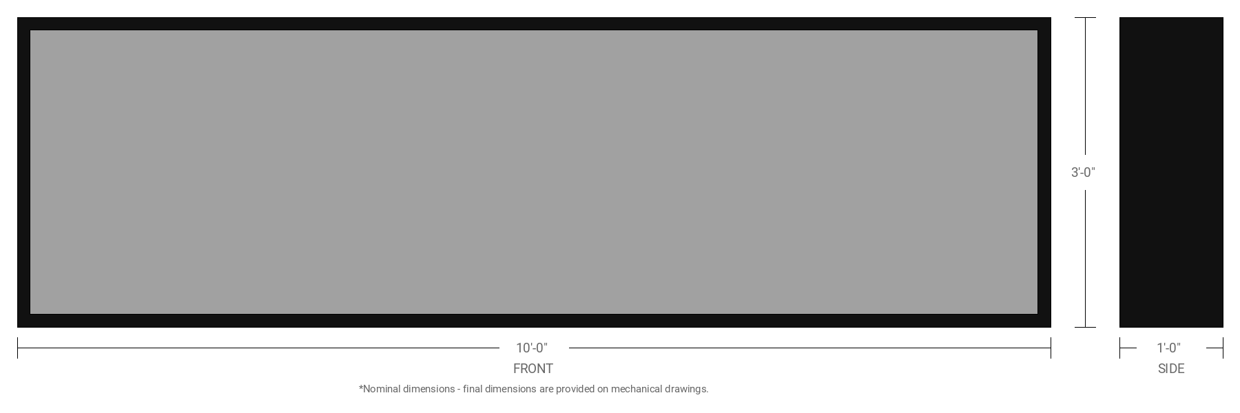 """3' x 10' Single Sided Aluminum Sign Cabinet with 12"""" Extrusion"""