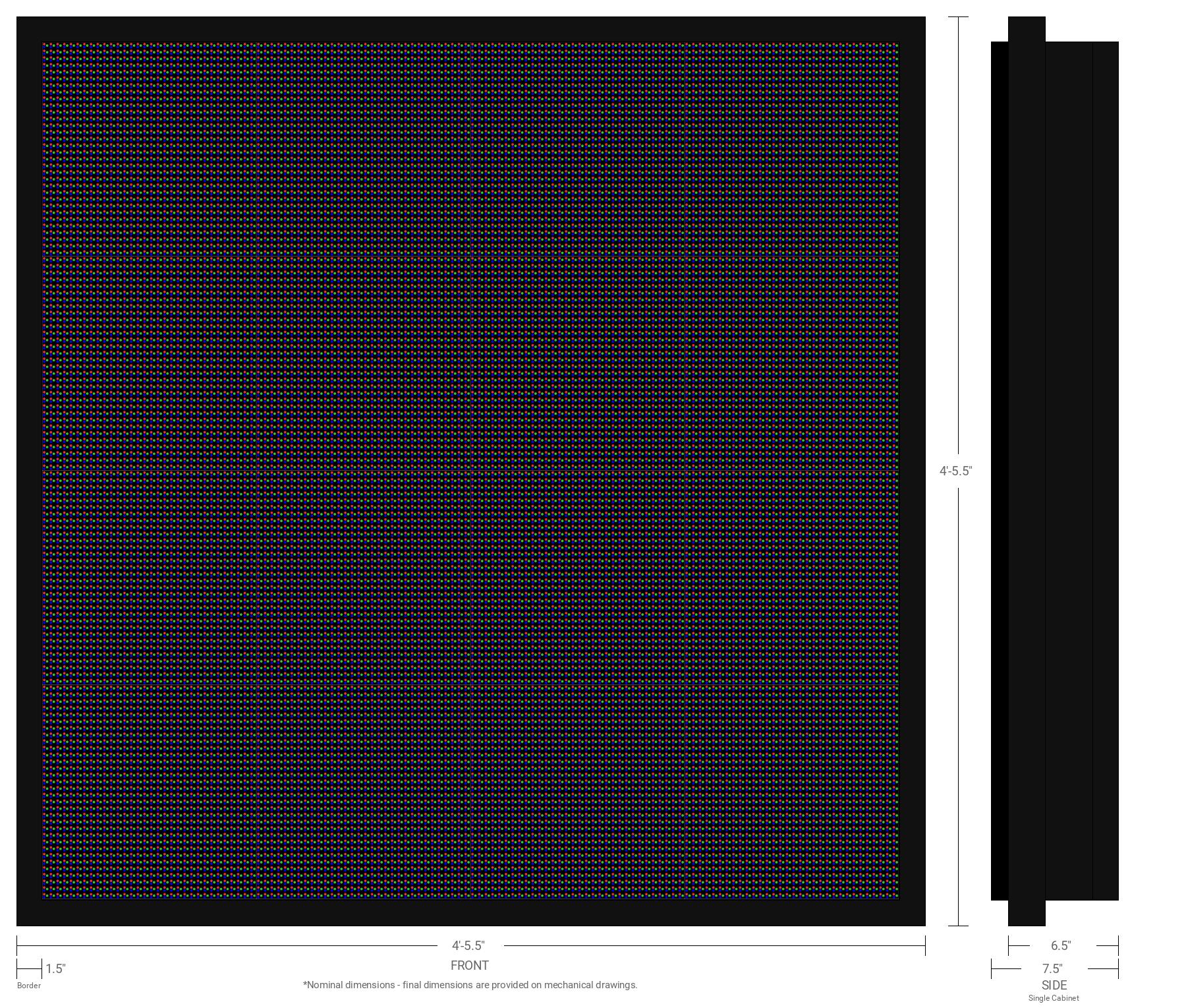 Aurora 10mm 128x128 Single Sided Full Color LED Display