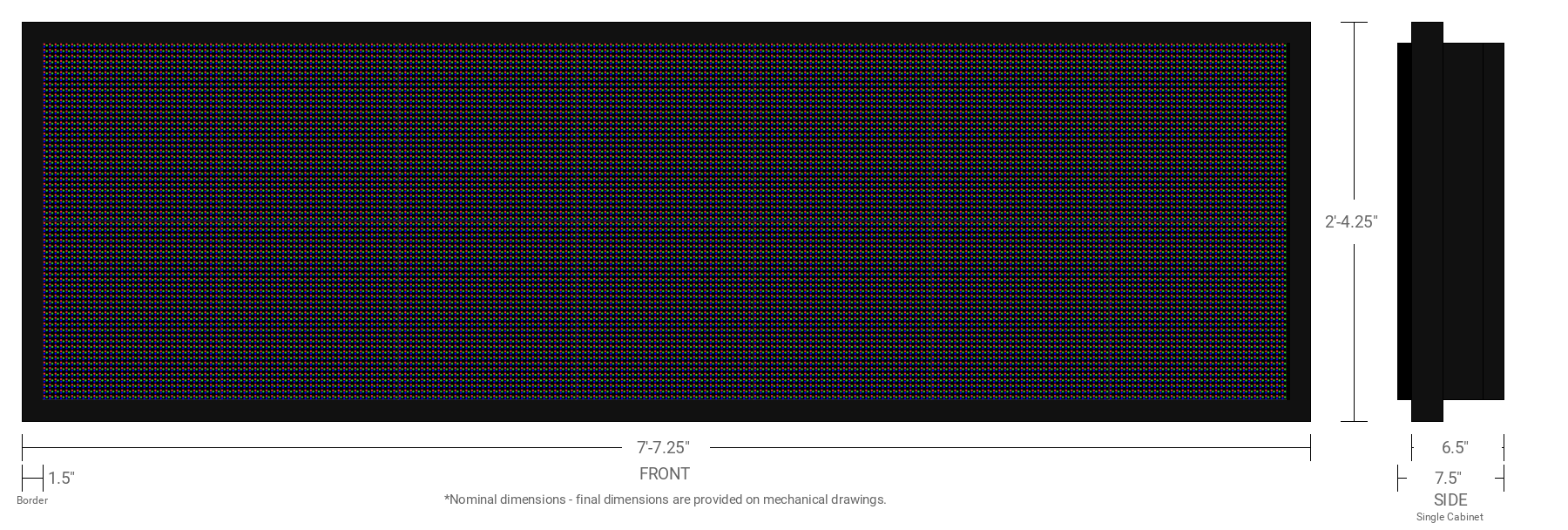 Aurora 10mm 64x224 Single Sided Full Color LED Display