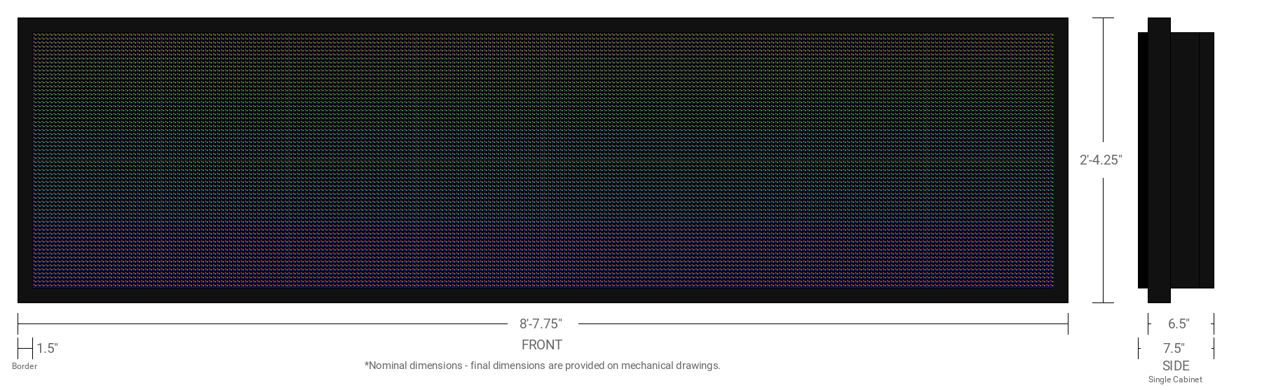 Aurora 10mm 64x256 Single Sided Full Color LED Display