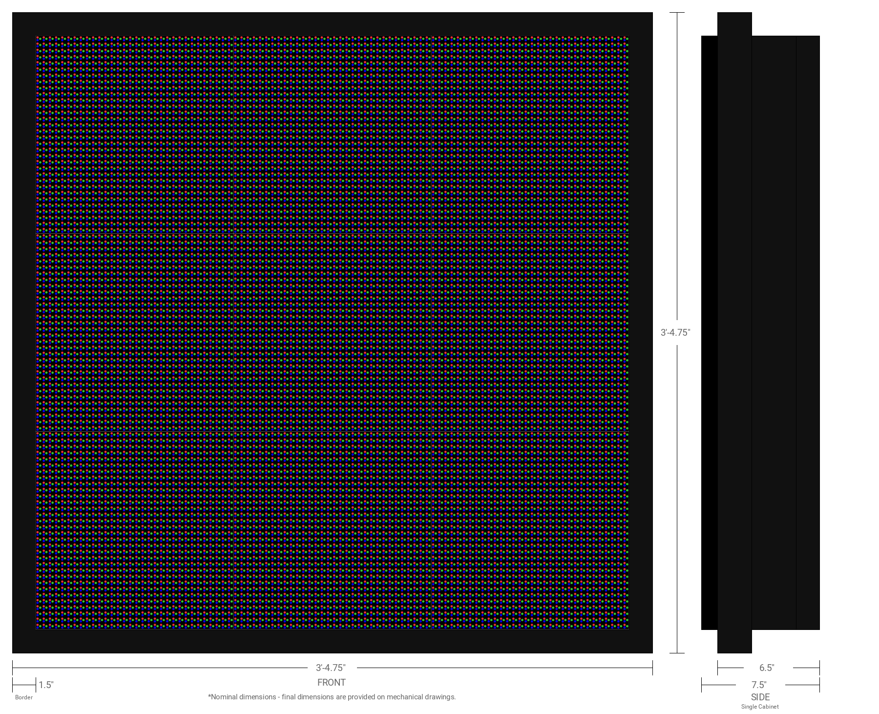 Aurora 10mm 96x96 Double Sided Full Color LED Display