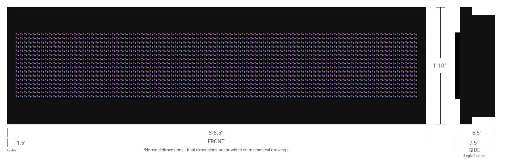 Aurora 20mm 16x96 Single Sided Full Color LED Display