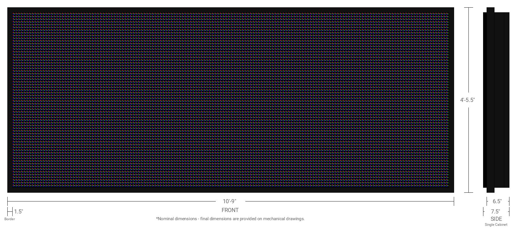 Aurora 20mm 64x160 Single Sided Full Color LED Display