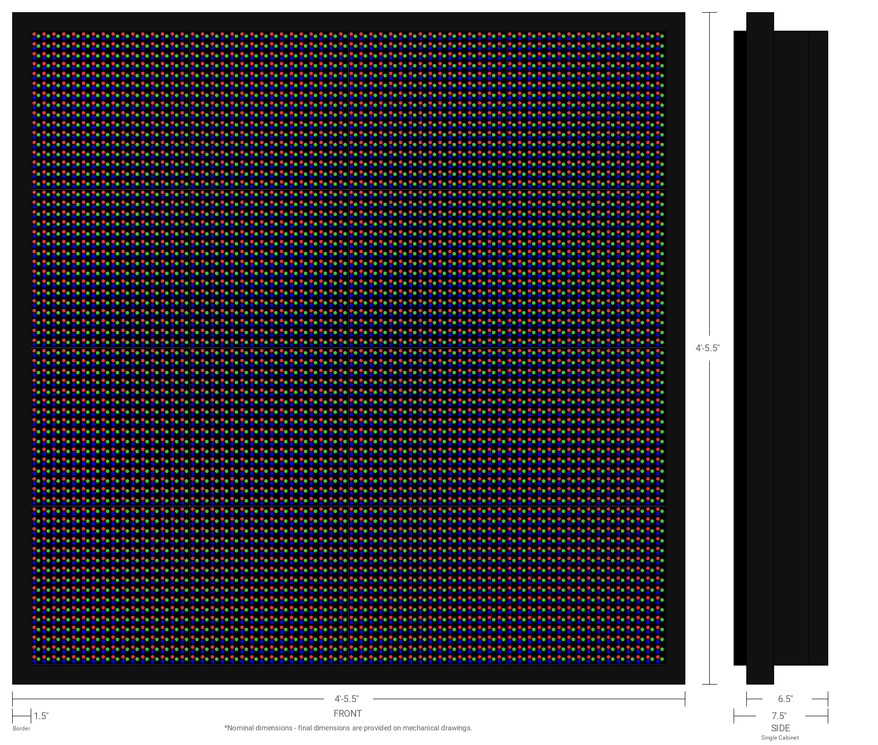 Aurora 20mm 64x64 Single Sided Full Color LED Display