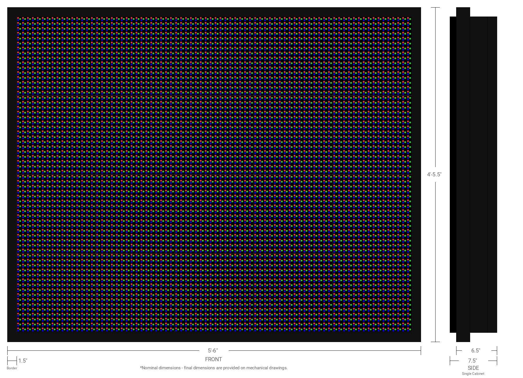 Aurora 20mm 64x80 Single Sided Full Color LED Display