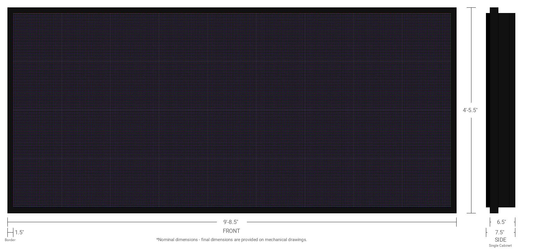 Polaris 10mm 128x288 Single Sided Full Color LED Display