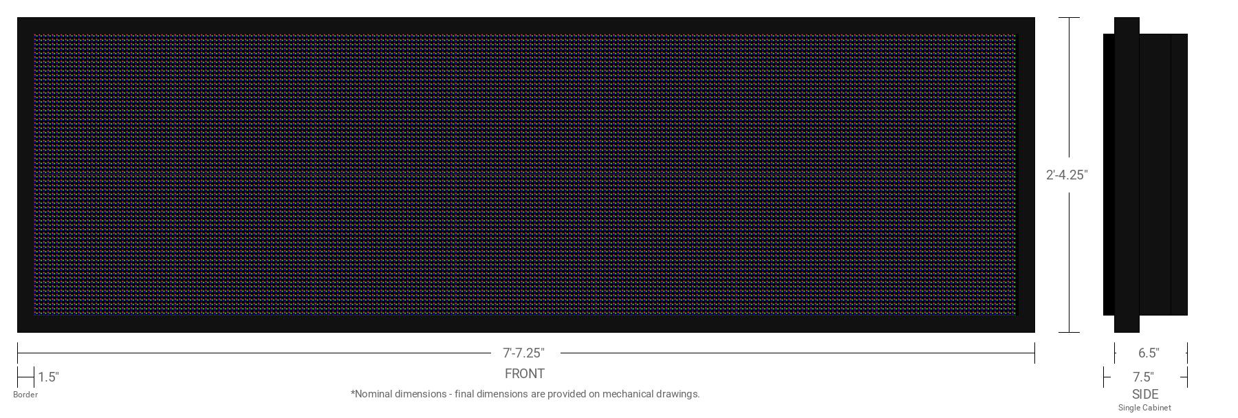 Polaris 10mm 64x224 Single Sided Full Color LED Display