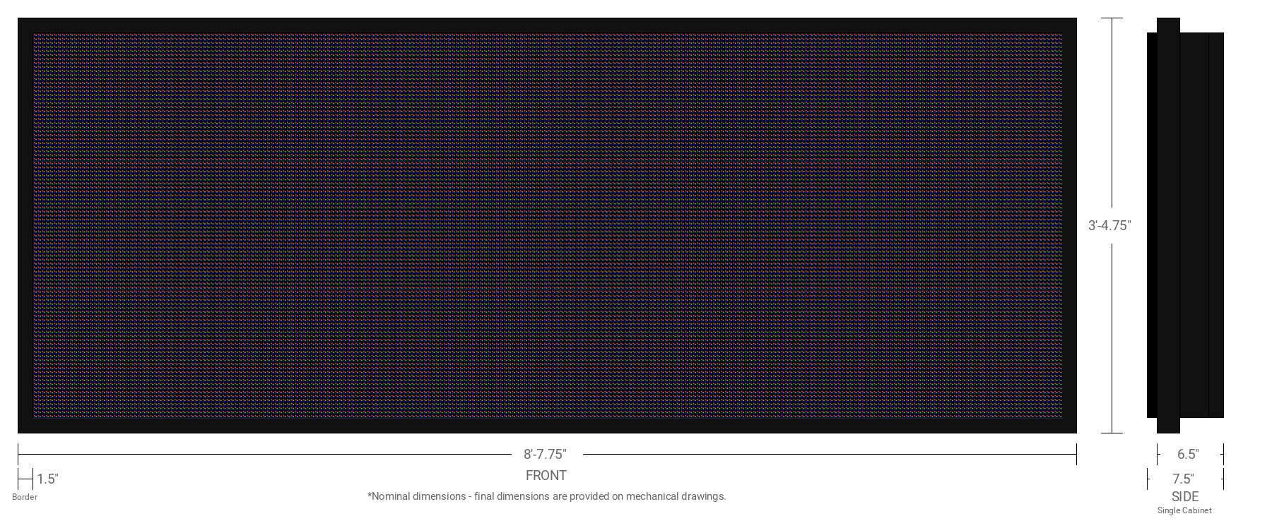 Polaris 10mm 96x256 Single Sided Full Color LED Display