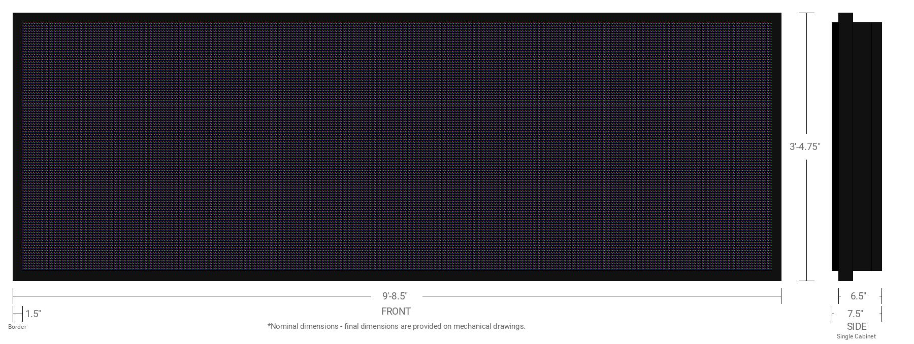 Polaris 10mm 96x288 Single Sided Full Color LED Display