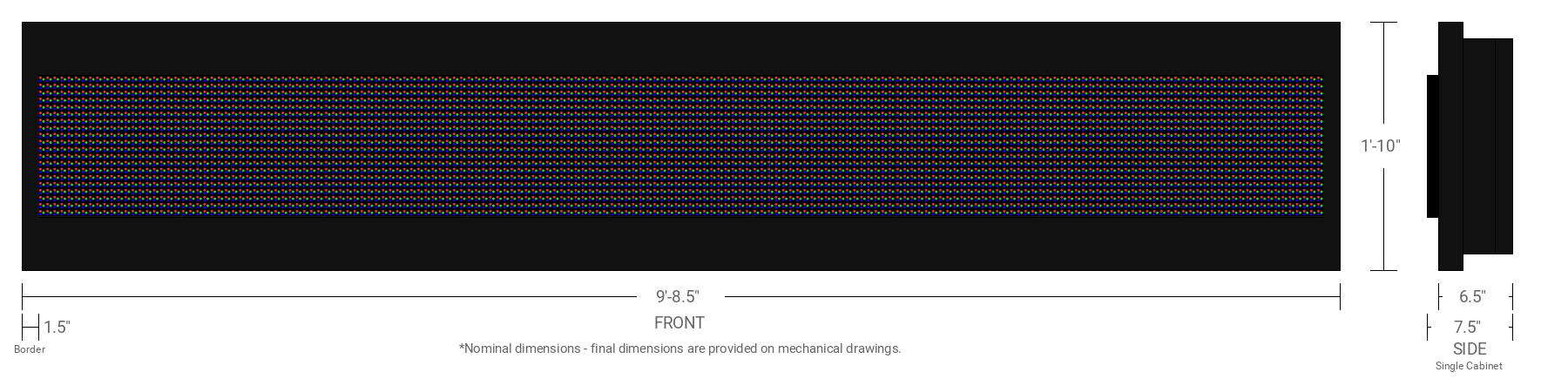 Polaris 16mm 20x180 Single Sided Full Color LED Display
