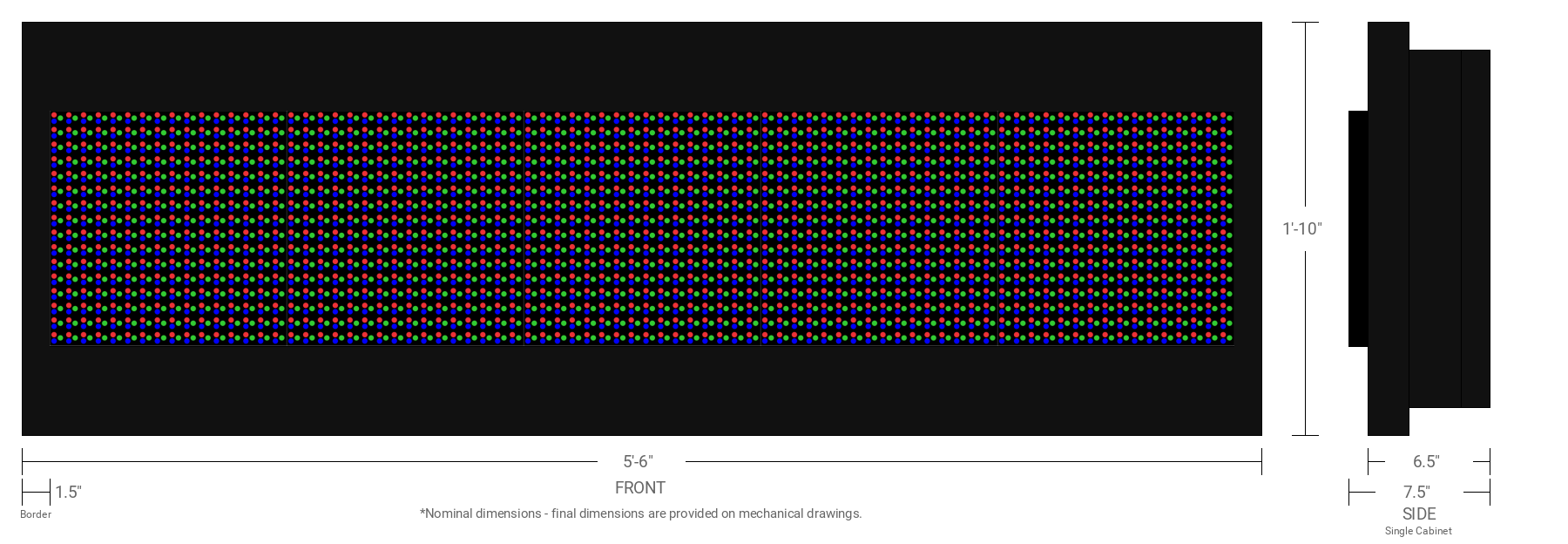 Polaris 20mm 16x80 Single Sided Full Color LED Display