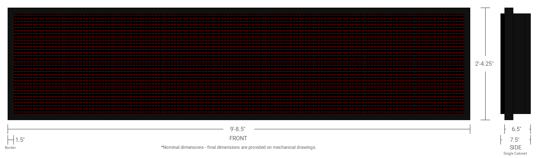 Polaris 20mm 32x144 Single Sided Grayscale Red LED Display