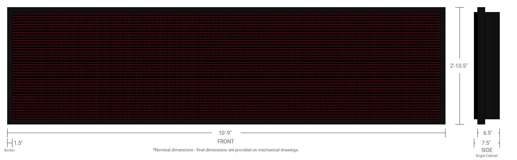 Polaris 20mm 40x160 Single Sided Grayscale Red LED Display