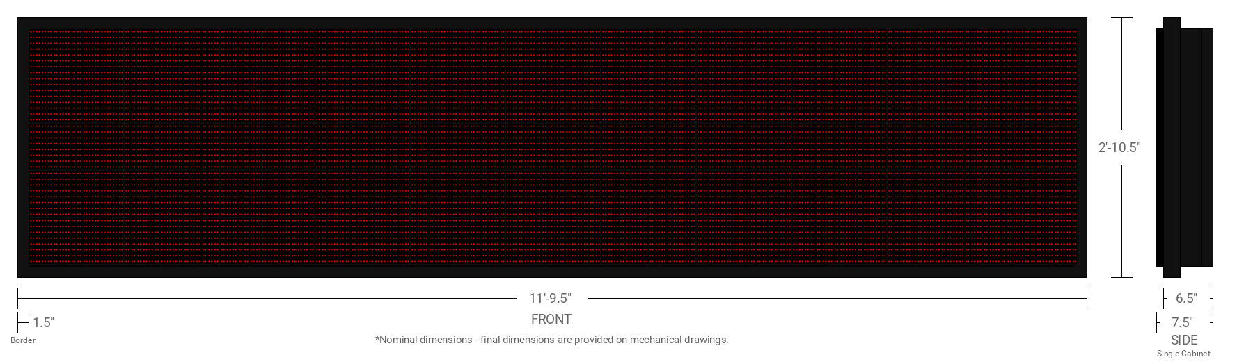 Polaris 20mm 40x176 Single Sided Grayscale Red LED Display
