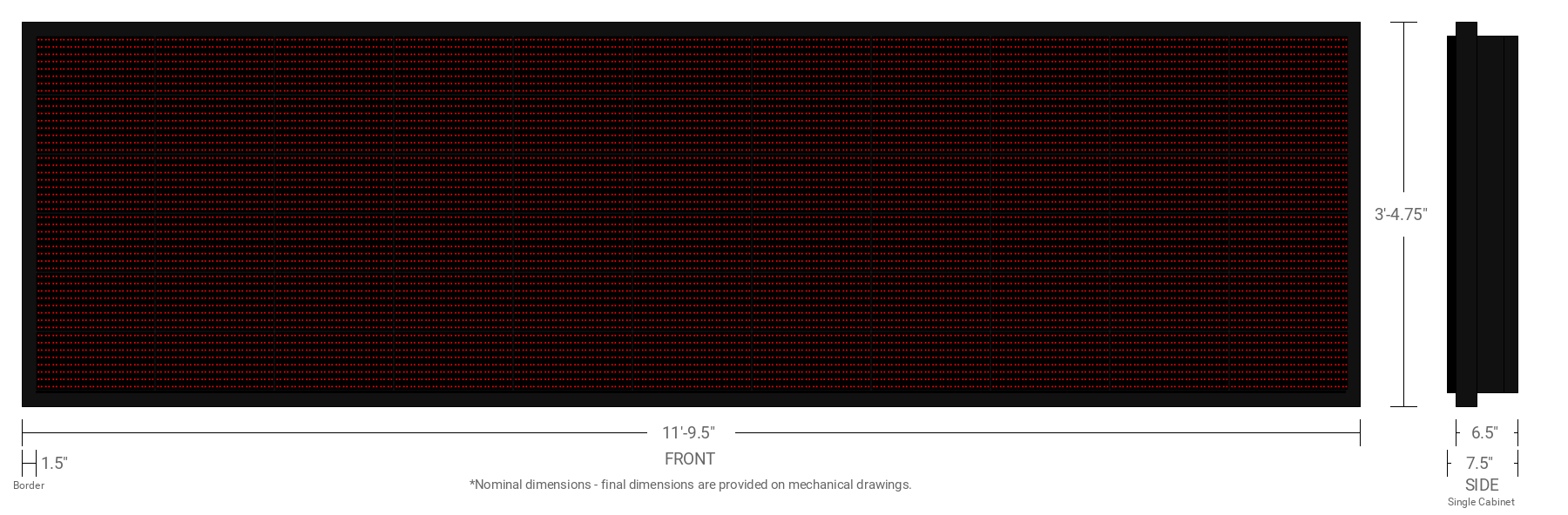 Polaris 20mm 48x176 Double Sided Grayscale Red LED Display