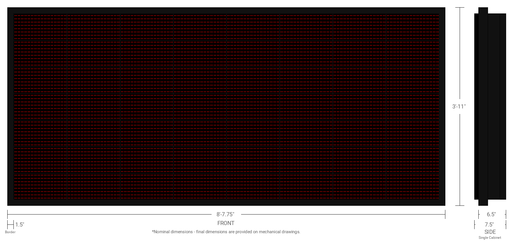 Polaris 20mm 56x128 Double Sided Grayscale Red LED Display
