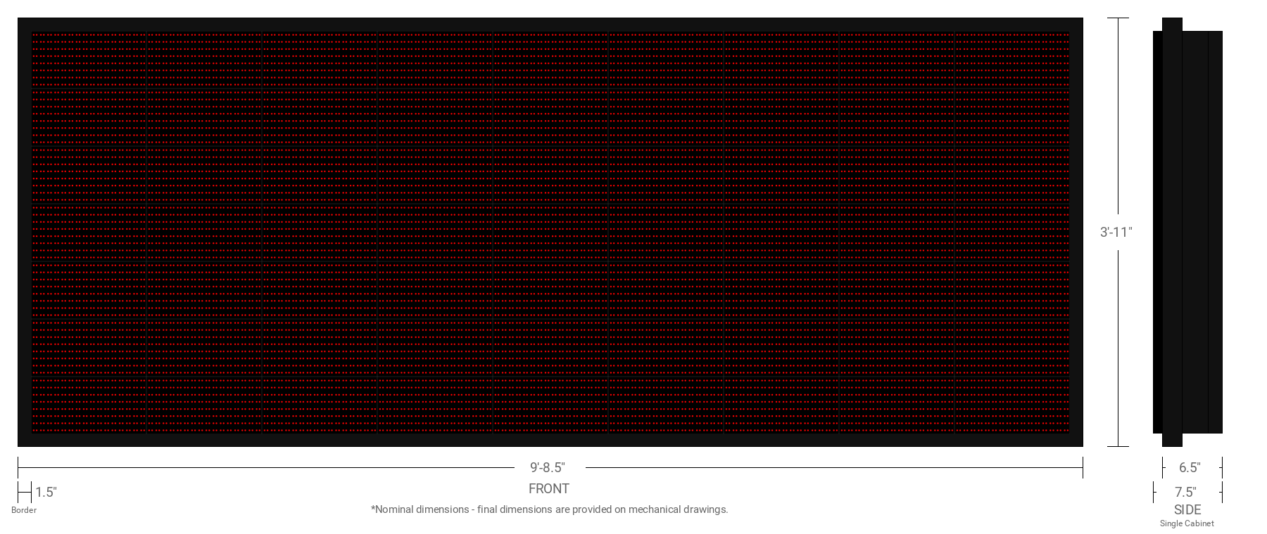 Polaris 20mm 56x144 Double Sided Grayscale Red LED Display