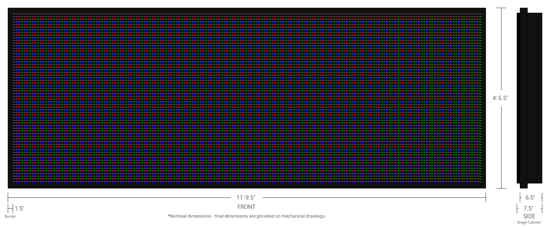 Polaris 20mm 64x176 Single Sided Full Color LED Display