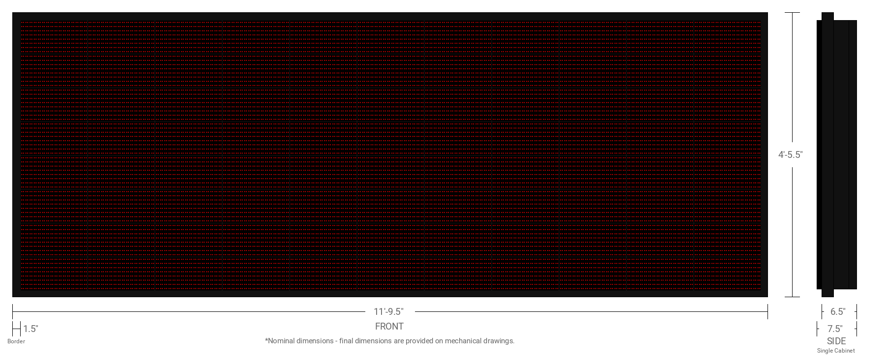 Polaris 20mm 64x176 Single Sided Grayscale Red LED Display