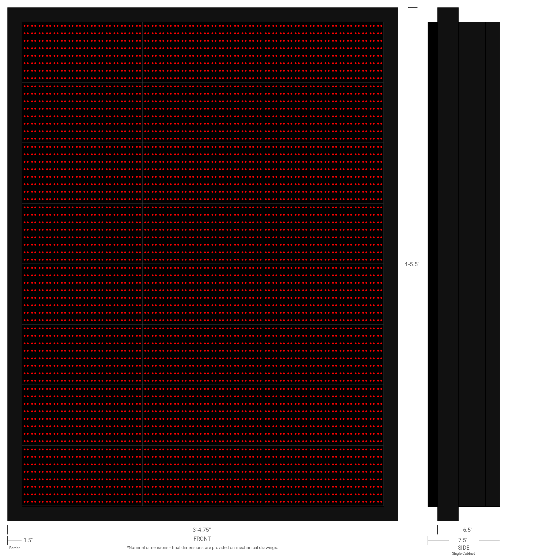 Polaris 20mm 64x48 Single Sided Grayscale Red LED Display