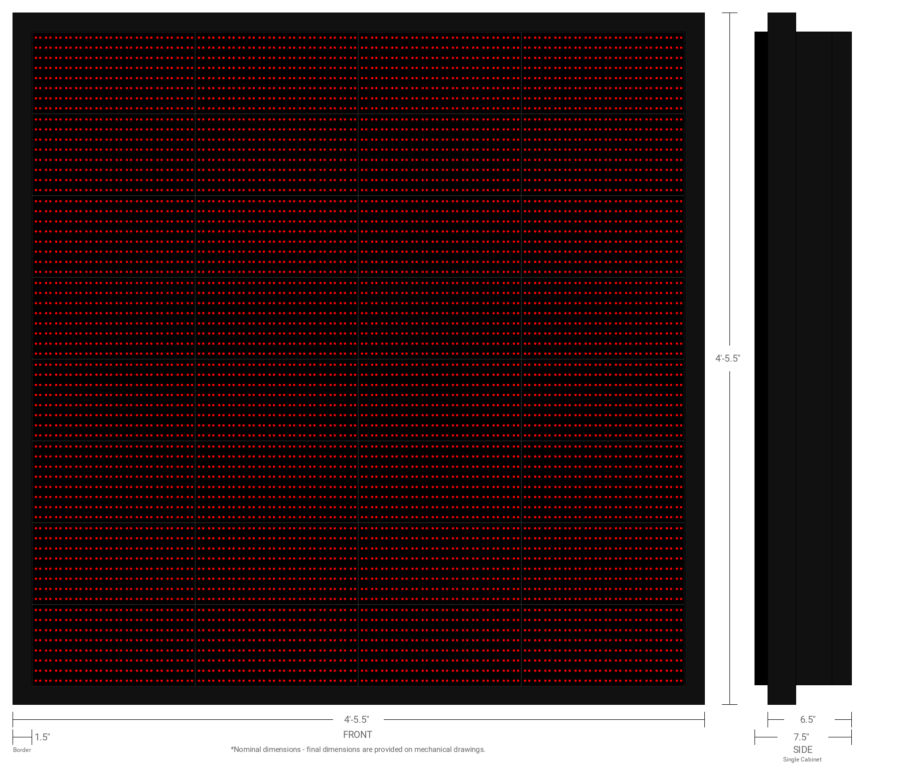 Polaris 20mm 64x64 Single Sided Grayscale Red LED Display
